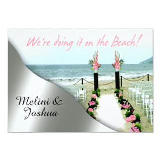 Down the Aisle Pink Grey Silver Beach Wedding Card