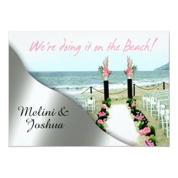 Beach Themed Down the Aisle Pink Grey Silver Beach Wedding Card