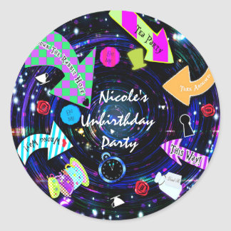 Down the Rabbit Hole Alice in Wonderland Party Classic Round Sticker