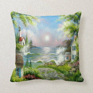 Down the Road Scenery  Throw Pillow