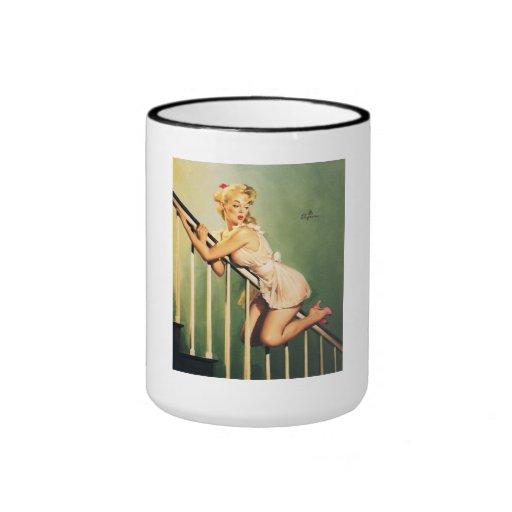 Down the Stairs - Retro Pin-up Girl Coffee Mug