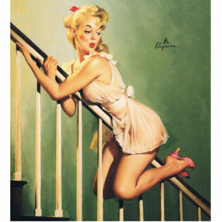 Down the Stairs - Retro Pin-up Girl Cutout