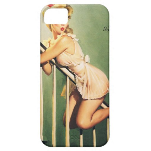 Down the Stairs - Retro Pin-up Girl iPhone 5 Cases