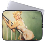 Down the Stairs - Retro Pin-up Girl Laptop Sleeve