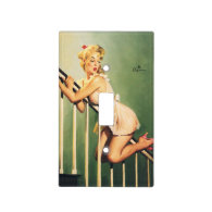 Down the Stairs - Retro Pin-up Girl Light Switch Covers