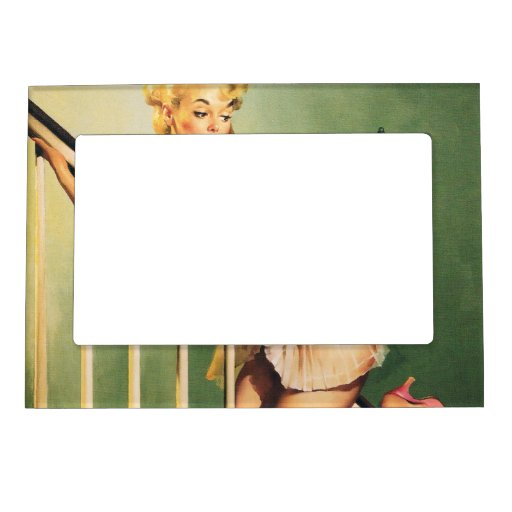 Down the Stairs - Retro Pin-up Girl Magnetic Photo Frames