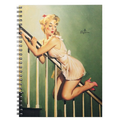 Down the Stairs - Retro Pin-up Girl Note Books