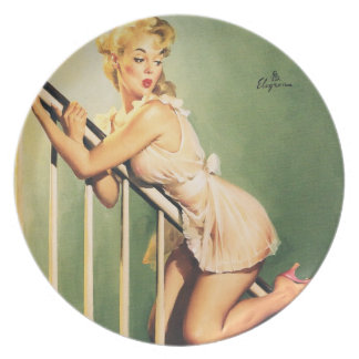 Down the Stairs - Retro Pin-up Girl Plate