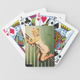 Down the Stairs - Retro Pin-up Girl Bicycle Playing Cards
