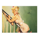Down the Stairs - Retro Pin-up Girl Postcard