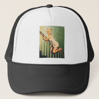 Down the Stairs - Retro Pin-up Girl Trucker Hat