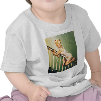 Down the Stairs - Retro Pin-up Girl T Shirts
