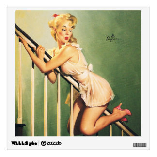 Down the Stairs - Retro Pin-up Girl Wall Decal
