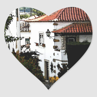 Down the Street in Obidos Portugal Heart Sticker