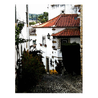 Down the Street in Obidos Portugal Postcard
