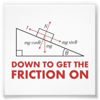 Down to Get the Friction On Physics Diagram Photo Print