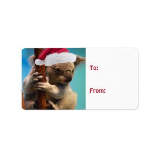 Down Under Christmas Koala Custom Address Labels