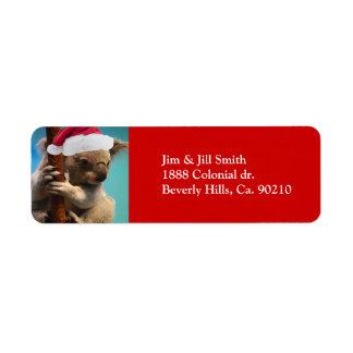 Down Under Christmas Koala Return Address Label