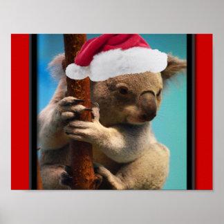 Down Under Christmas Koala Poster