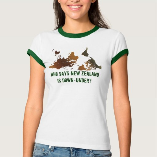 DOWN-UNDER UPSIDE-DOWN Funny NZ WORLD MAP T-Shirt