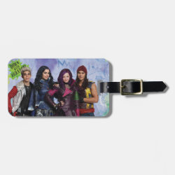 Small Luggage Tag with leather strap with Descendants Down With Auradon! design