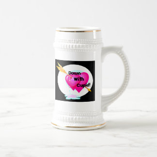 down with cupid valentine pink hearts on black beer stein
