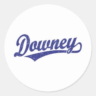 Downey script logo in blue classic round sticker