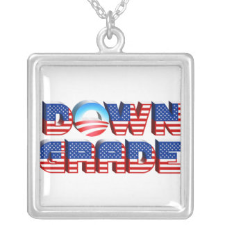 Downgrade Obama Square Pendant Necklace