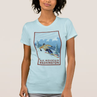 Downhhill Snow Skier - Blue Mountain, Washington T-Shirt