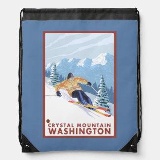 Downhhill Snow Skier - Crystal Mountain, WA Cinch Bag