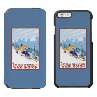 Downhhill Snow Skier - Crystal Mountain, WA iPhone 6/6s Wallet Case