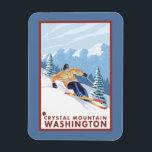 "Downhhill Snow Skier - Crystal Mountain, WA Magnet<br><div class=""desc"">Downhhill Snow Skier - Crystal Mountain,  Washington - Vintage Travel Poster was created in 2007. This image depicts scenes from Crystal Mountain,  WA.</div>"