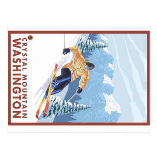 Downhhill Snow Skier - Crystal Mountain, WA Postcard