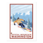 Downhhill Snow Skier - Crystal Mountain, WA Post Card
