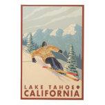 Downhhill Snow Skier - Lake Tahoe, California Wood Wall Decor