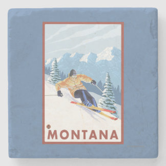 Downhhill Snow Skier - Montana Stone Coaster