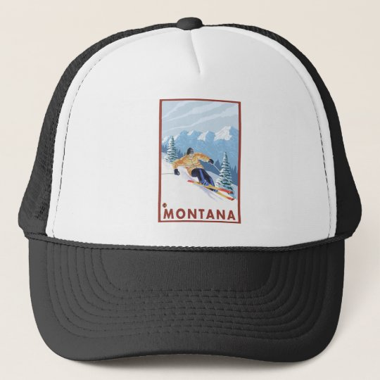 Downhhill Snow Skier - Montana Trucker Hat