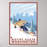Downhhill Snow Skier - Mount Baker, Washington Poster
