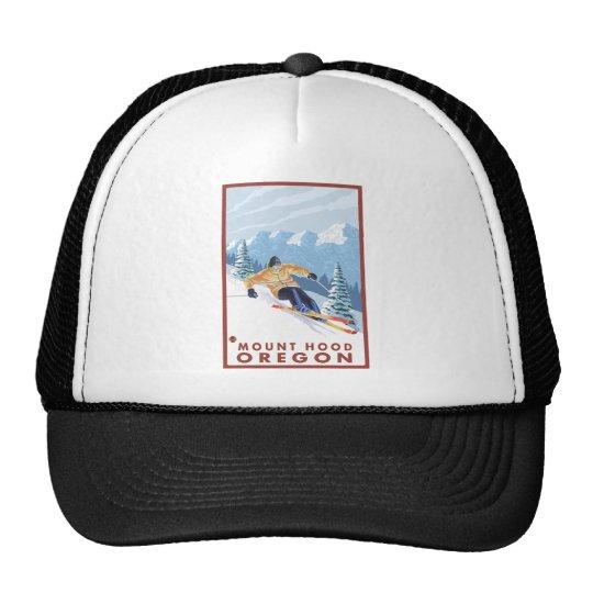 Downhhill Snow Skier - Mount Hood, Oregon Trucker Hat