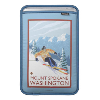 Downhhill Snow Skier - Mount Spokane, MacBook Sleeve