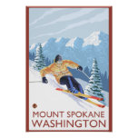 Downhhill Snow Skier - Mount Spokane, Print