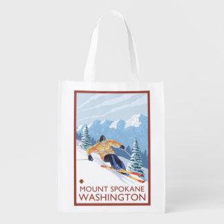 Downhhill Snow Skier - Mount Spokane, Reusable Grocery Bags