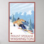 Downhhill Snow Skier - Mount Spokane, Washington Poster