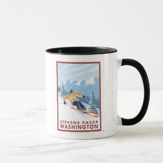 Downhhill Snow Skier - Stevens Pass, Mug