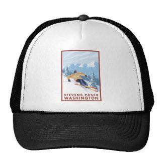 Downhhill Snow Skier - Stevens Pass, Washington Trucker Hat