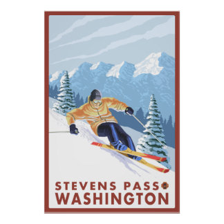 Downhhill Snow Skier - Stevens Pass, Washington Poster