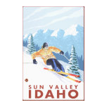 Downhhill Snow Skier - Sun Valley, Idaho Stretched Canvas Prints