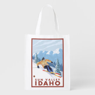 Downhhill Snow Skier - Sun Valley, Idaho Reusable Grocery Bag