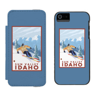 Downhhill Snow Skier - Sun Valley, Idaho Wallet Case For iPhone SE/5/5s