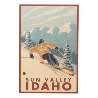 Downhhill Snow Skier - Sun Valley, Idaho Wood Wall Art